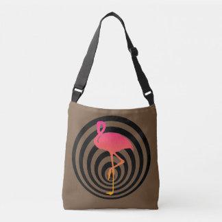 Beautiful flamingo in circles crossbody bag
