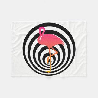 Beautiful flamingo in circles fleece blanket