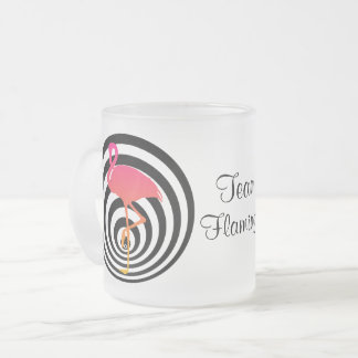 Beautiful flamingo in circles frosted glass coffee mug