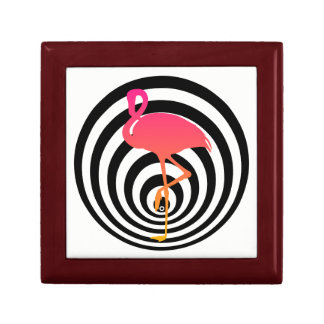 Beautiful flamingo in circles gift box
