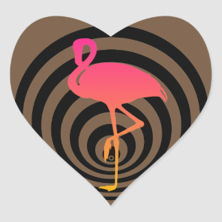 Beautiful flamingo in circles heart sticker