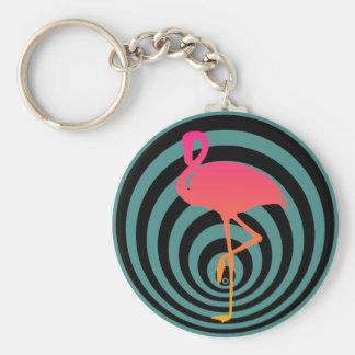 Beautiful flamingo in circles keychain