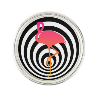 Beautiful flamingo in circles lapel pin