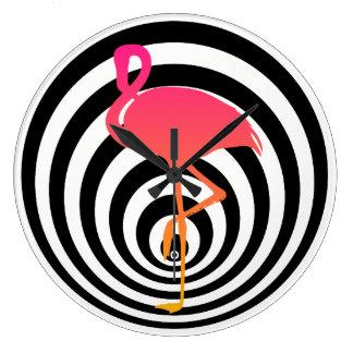 Beautiful flamingo in circles large clock