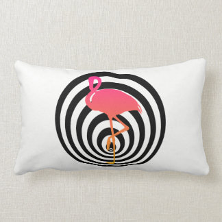 Beautiful flamingo in circles lumbar pillow