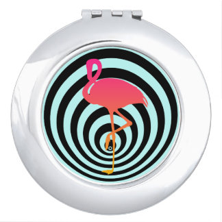Beautiful flamingo in circles mirror for makeup
