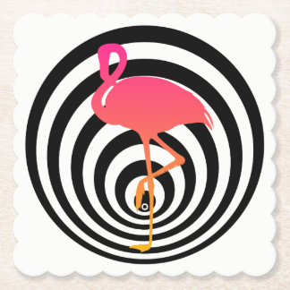 Beautiful flamingo in circles paper coaster