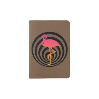 Beautiful flamingo in circles passport holder