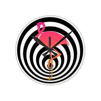 Beautiful flamingo in circles round clock