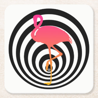 Beautiful flamingo in circles square paper coaster