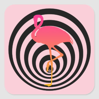 Beautiful flamingo in circles square sticker