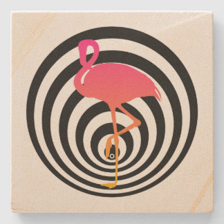 Beautiful flamingo in circles stone coaster