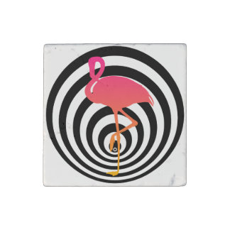 Beautiful flamingo in circles stone magnets