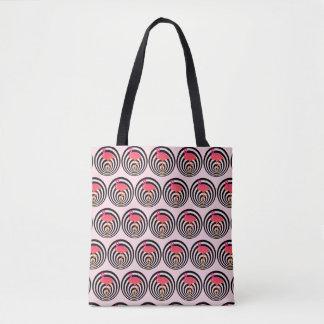 Beautiful flamingo in circles tote bag