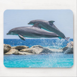 Beautiful Fling dolphins in ocean Mouse Pad