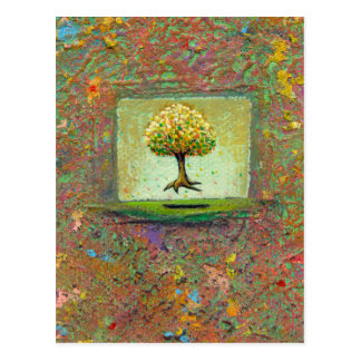 Beautiful floating tree earthy modern art My Queen Postcard