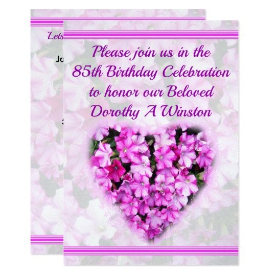BEAUTIFUL FLORAL 85TH BIRTHDAY INVITATION