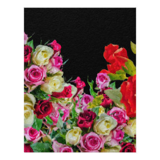 Beautiful Floral Abstract Black Customized Letterhead