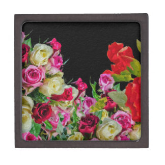 Beautiful Floral Abstract Black Premium Trinket Box