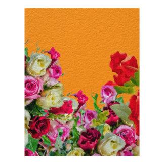 Beautiful Floral Abstract Orange Custom Letterhead