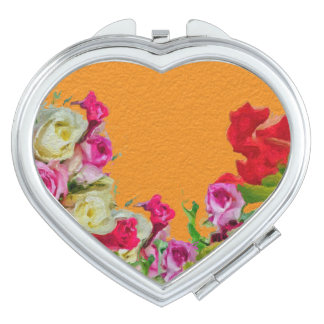 Beautiful Floral Abstract Orange Travel Mirror