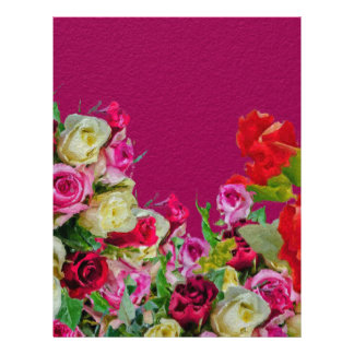 Beautiful Floral Abstract Pink Letterhead Design
