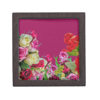 Beautiful Floral Abstract Pink Premium Trinket Box