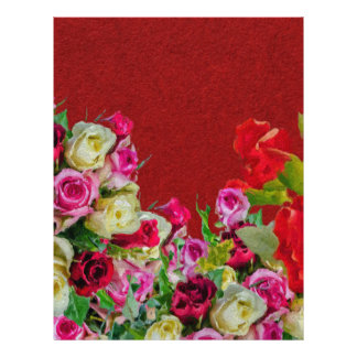 Beautiful Floral Abstract Red Personalized Letterhead