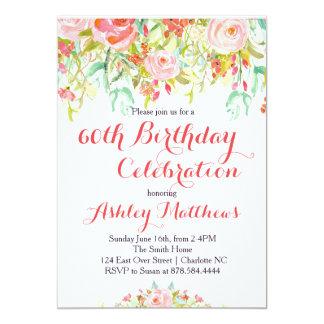 Beautiful Floral Adult Birthday Invitation