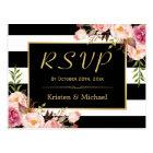 Beautiful Floral Black White Stripes Wedding RSVP Postcard