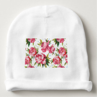 Beautiful Floral Bouquet  Pink Flowers Patterns Baby Beanie