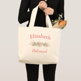 Beautiful Floral Bridesmaid Large Tote Bag