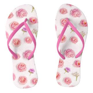 Beautiful floral composition flip flops