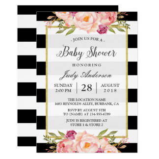 "Beautiful Floral Decor Modern Stripes Baby Shower 5"" X 7"" Invitation Card"
