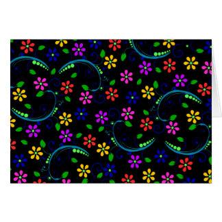 Beautiful Floral Design on Black Background Card