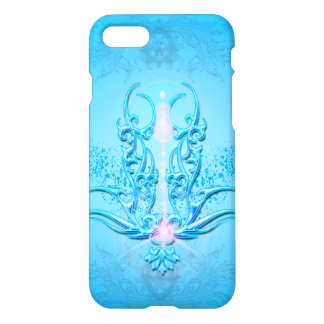 Beautiful  floral elements on soft blue background iPhone 7 case