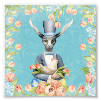 Beautiful Floral Flowers Animal Easter Bunny Photo Print