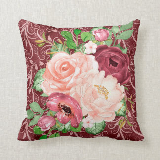 Beautiful Floral Flowers Design Throw Pillow