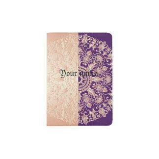 Beautiful,floral,gold,pink,purple,antique,vintage, Passport Holder