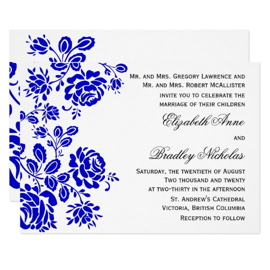 Beautiful Floral In Royal Blue Wedding Invitation