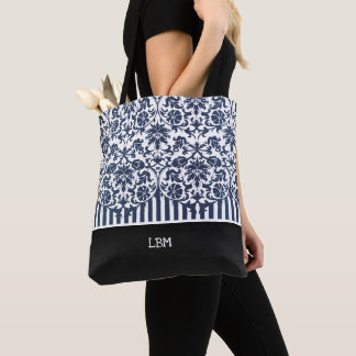 Beautiful Floral Navy Blue Damask and Stripes Tote Bag