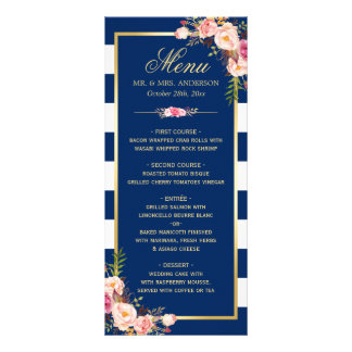 Beautiful Floral Navy Blue Striped Wedding Menu