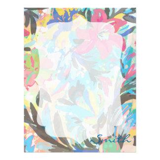 Beautiful  floral paint watercolours pattern custom letterhead
