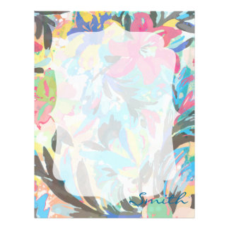 Beautiful  floral paint watercolours pattern letterhead