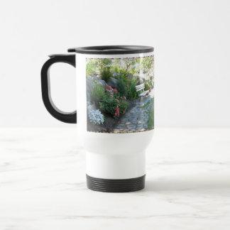 Beautiful Floral Park Bench Travel Mug