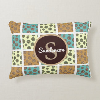 Beautiful Floral Patchwork w/Personalization Accent Pillow