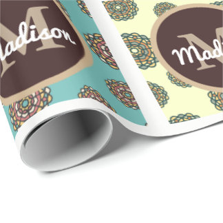 Beautiful Floral Patchwork w/Personalization Wrapping Paper