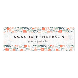 Beautiful Floral Pattern Girly Pack Of Skinny Business Cards