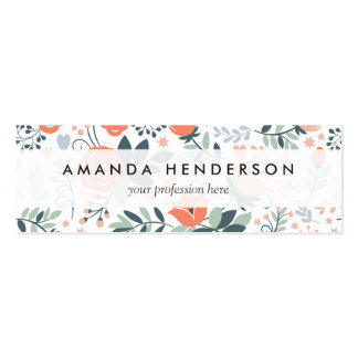 Beautiful Floral Pattern Girly Mini Business Card
