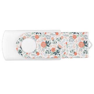 Beautiful Floral Pattern Girly Swivel USB 2.0 Flash Drive